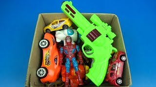 BOX OF TOYS with Many Colorful Toys What's in the box ? Johny Johny Yes Papa Plane, Cars Spider-Man