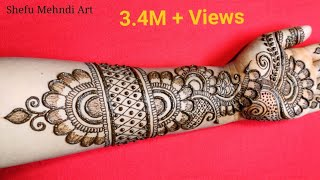 Full hand shaded arabic bridal mehndi designs | simple arabic mehndi designs for front hands