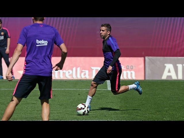 Training session (9/4/15): Jordi Alba trains but not yet declared fully fit