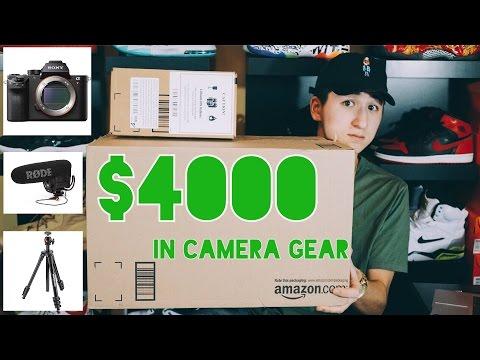 INSANE CAMERA GEAR HAUL/UNBOXING!!! ($4000)📷😳😜   Sony A7RII   Rode VideoMic Pro   Sony CLM-V55