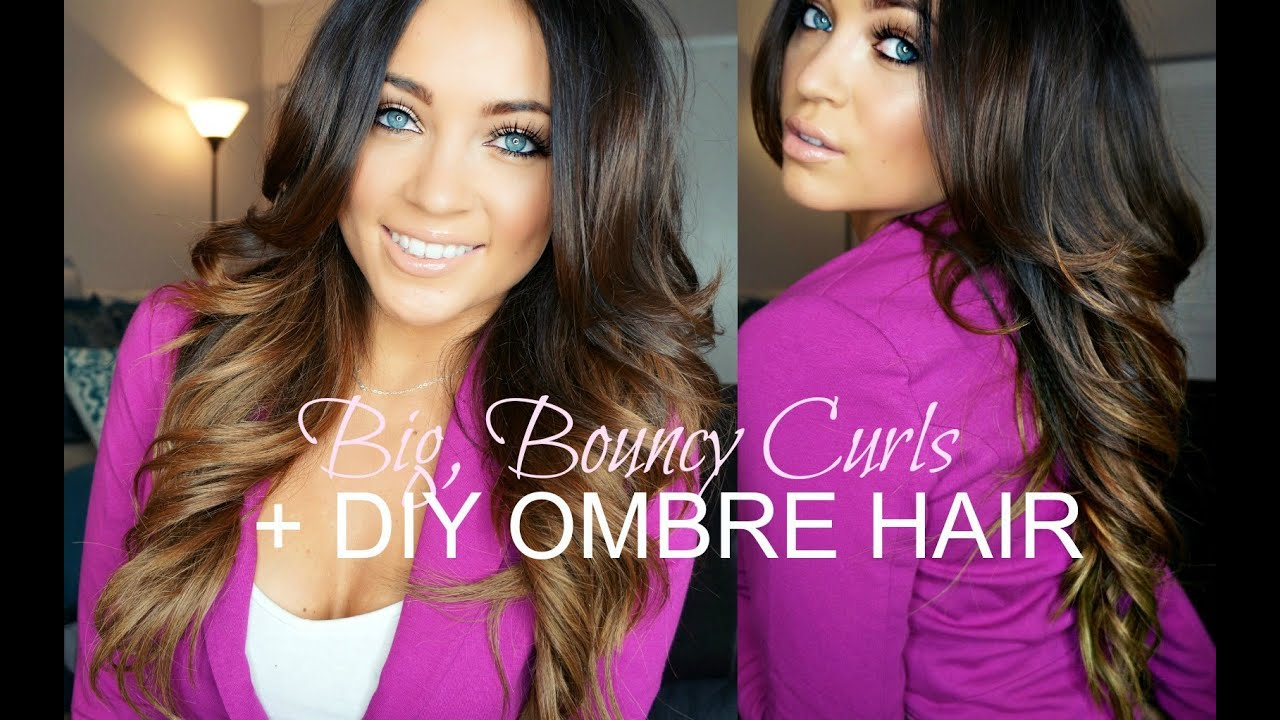 Big Bouncy Curls Tutorial Diy Ombre Hair Youtube
