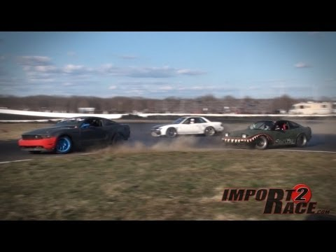 Drifting 240sx & Mustang, Miata battle