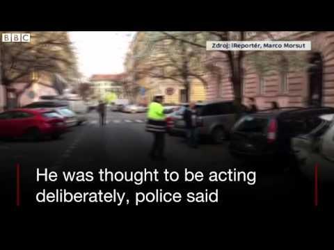 Drunk Czech police officer hits 51 cars   BBC News 2