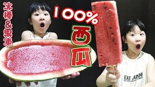 DIY自製100%超大西瓜冰棒超大西瓜果凍/How to make giant watermelon ice bar & jelly/丸ごとスイカアイスとジェリー[NyoNyoTV 妞妞TV]