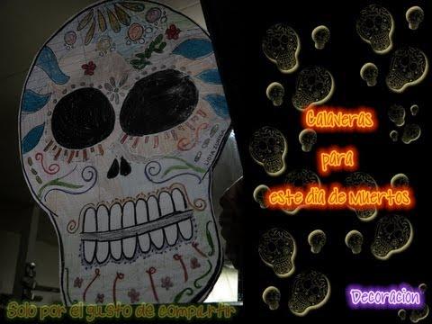 Calaveras para el dia de muertos decoracion how to for Decoracion de puertas de dia de muertos