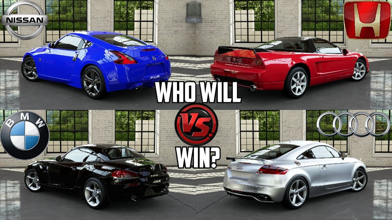 Forza 5 Nissan 370z Vs Honda Nsx R Vs Audi Tt Rs Coupe Vs Bmw Z4 Sdrive35is Youtube