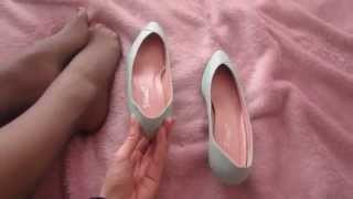 Nine West unworn Vintage Shoes, size 8, mint colour, and Grey Pantyhose
