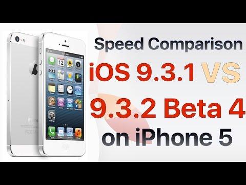 iPhone 5 iOS 9.3.1 vs iOS 9.3.2 Beta 4 / Public Beta 4 Build #13F68 Speed Comparison