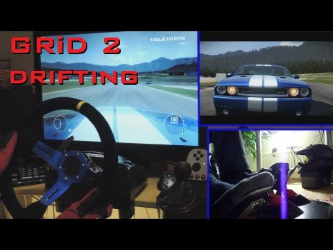 GRiD 2 drift. Logitech G27 gameplay Custom Racing Wheel mod - Dodge Challenger. 1080p