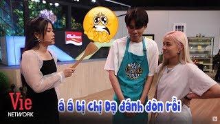 Lâm Vỹ Dạ đánh yêu Hot tiktok Dương Duy khi không biết nấu ăn sau hậu trường Khi Chàng Vào Bếp