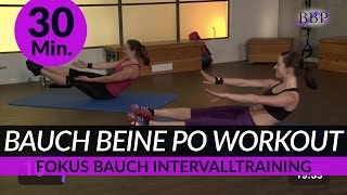 Bauch Beine Po (Schwerpunkt Bauch) Workout I 30 Min. I BBP