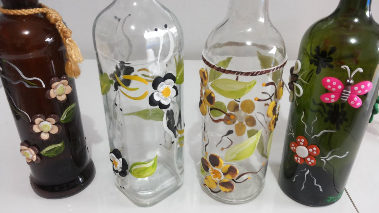 Aparador Cocina Conforama ~ Como decorar garrafas com biscuit e tintas PVA Passo a