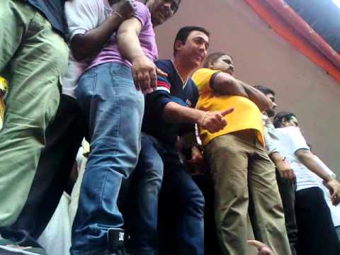 pushkar at sena bhavan dahi handi special for new movie reghe shoting.mp4