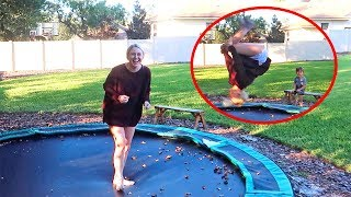 Mom Attempts A BackFLIP!