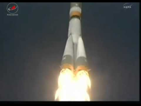 LIFTOFF of the Soyuz rocket carrying the Progress 45 re-supply vehicle to the ISS