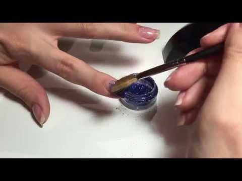 184Как делать блестки на ногтях гель лаком