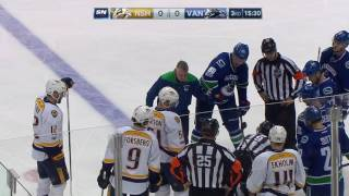 Linesman Lonnie Cameron takes dump in off side of the head