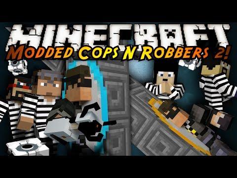Minecraft Mini Game : MODDED COPS N ROBBERS PORTAL GUNS