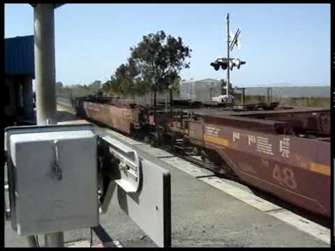 BNSF and Amtrak Trains Passing Through Antioch, CA - March 22, 2010