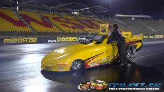 MARK HINCHELWOOD BLIND OBSESSION MSCN SAINTY FUNNY CAR TESTING AT SYDNEY DRAGWAY 4.10.2014
