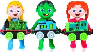 KIDS PLAYING WITH A TOY TRAIN ❤ SUPERHERO PLAY DOH CARTOONS FOR KIDS