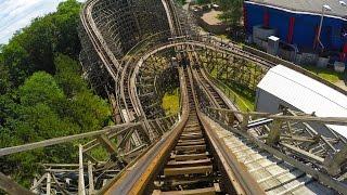 Bandit Wooden Roller Coaster AMAZING 4K Resolution POV Video Movie Park Germany Ultra HD