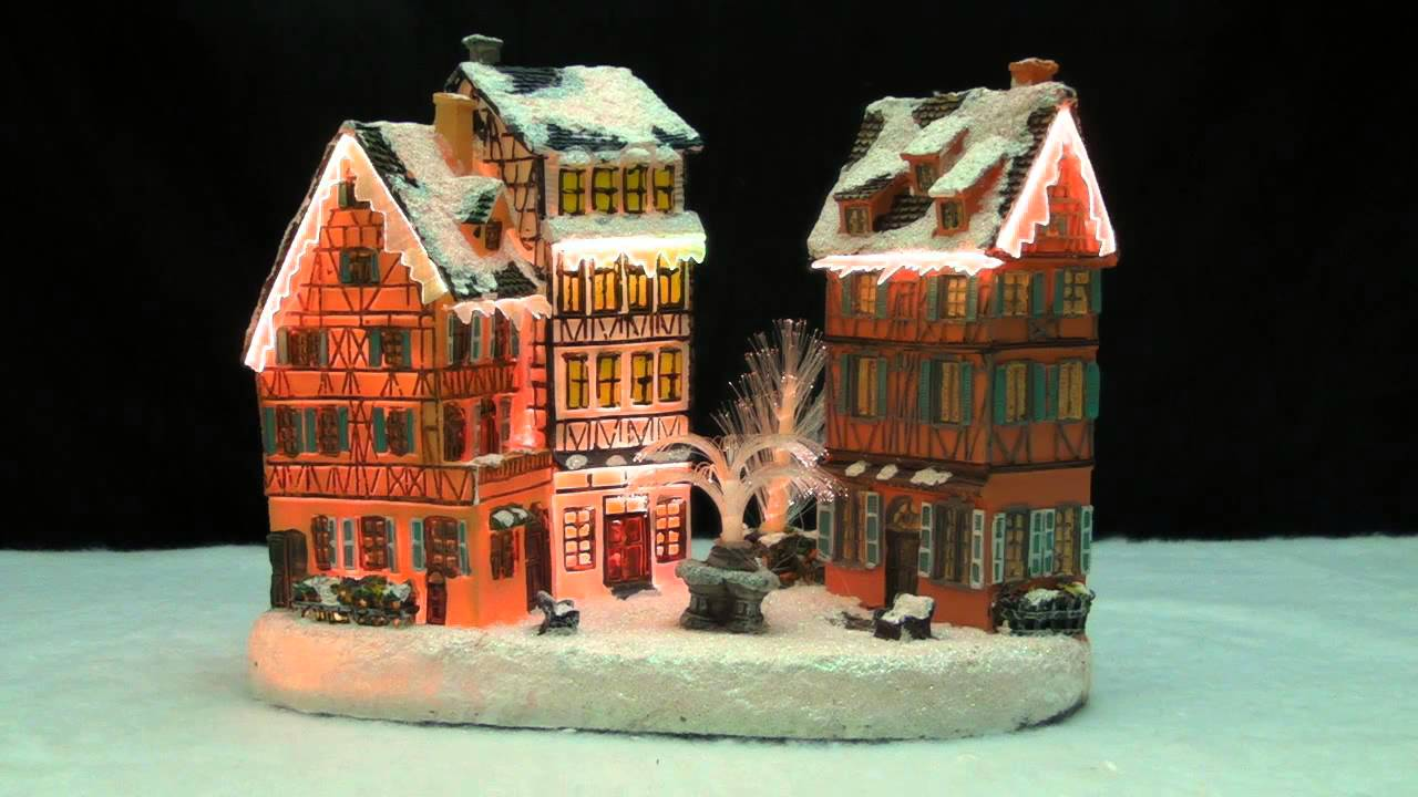 Christmas Village House With Water Fountain Led Fiber