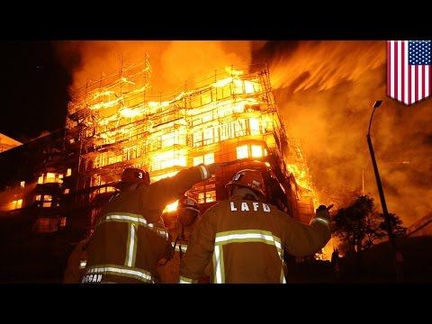 Policía cree que masivo incendio en edificio en construcción en Los Ángeles fue provocado