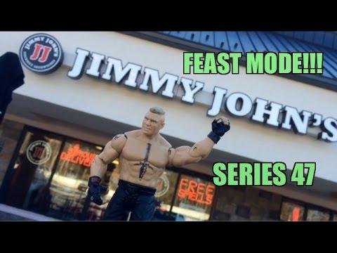 WWE ACTION INSIDER: Brock Lesnar at JIMMIE JOHNS! Mattel Superstars Series 47 Wrestling Figure!