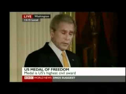 President Bush awards US medal of Freedom 1 of 2 - to Blair, Howard & Uribe - BBC World News