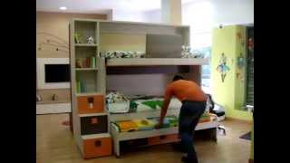 VIDEO EXPLICATIVO| FUNCIONAMIENTO LITERA TRIPLE CON CAMA ABATIBLE| dormitorios juveniles MADRID