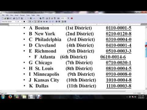 Fed. Reserve Routing Numbers (list)