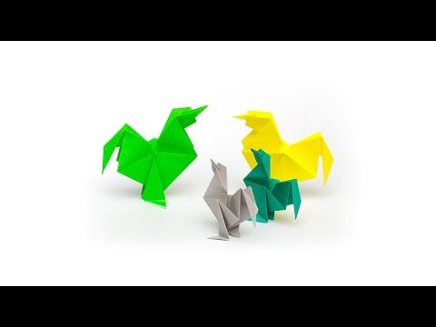 การพับกระดาษเป็นรูปไก่ Origami Roost