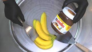 Nutella Banana Ice Cream Rolls | how to make fried Ice Cream with Nutella and fresh Bananas | ASMR