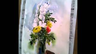 flower vase watercolor course 4 by  shohag parvez