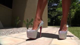 TAMIA IN CRYSTAL LOUBOUTIN HIGH HEELS ON SEYCHELLES NO NYLONS