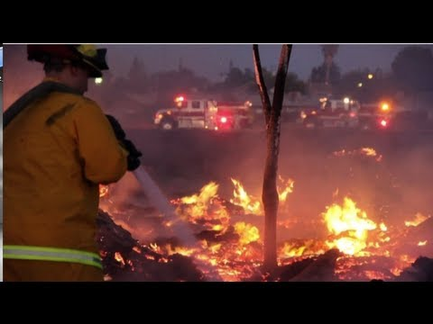 Large Brush Fire Threatens Homes In Keyes, California - Firefighters Save Neighborhood