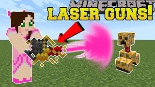 Minecraft: LASER GUNS!!! (PLASMA GUN, FLAMETHROWER, & SEEKER RIFLE!) Mod Showcase