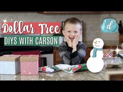 DOLLAR TREE CHRISTMAS DIYS WITH CARSON ⛄️🎄 Easy snowmen ornaments for kids!