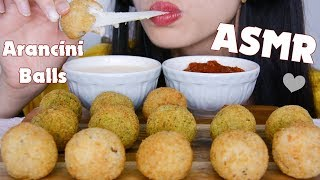 ASMR CHEESY ARANCINI BALLS with CHEESE SAUCE - CRUNCHY EATING SOUNDS