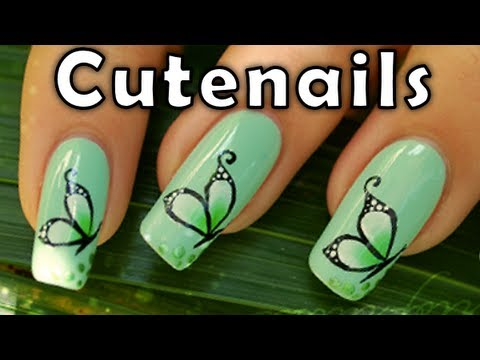 How to : butterfly nail art design by Cute Nails