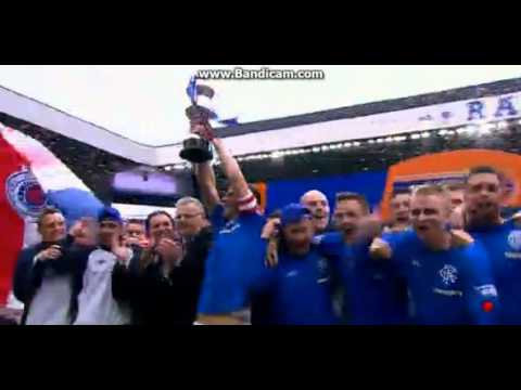 Rangers lifting the 3rd division trophy at Ibrox