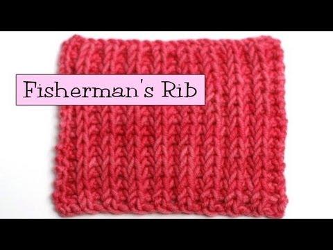 Knitting Stitches Fisherman s Rib : Fancy Stitch Combos - Fishermans Rib - YouTube