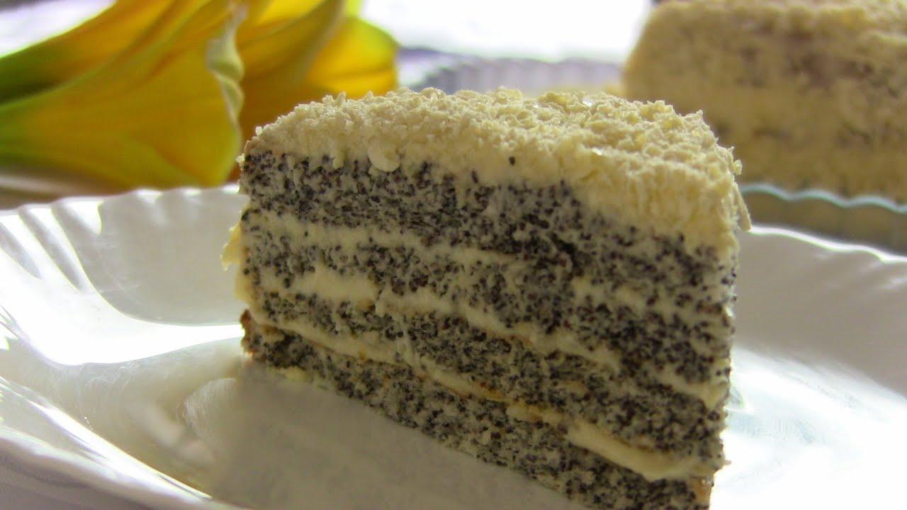Торт сметанный с маком рецепт с фото