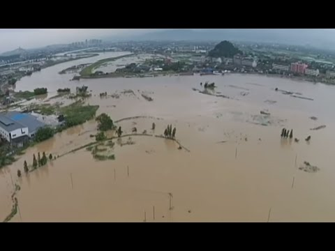 Aerial footage: Taiwan sunk in mud streams after deadly typhoon Soudelor