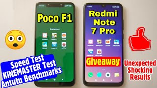 Redmi Note 7 Pro Vs Poco F1 Speed Test, Antutu Benchmark Test and Kinemaster Video Export Speed Test