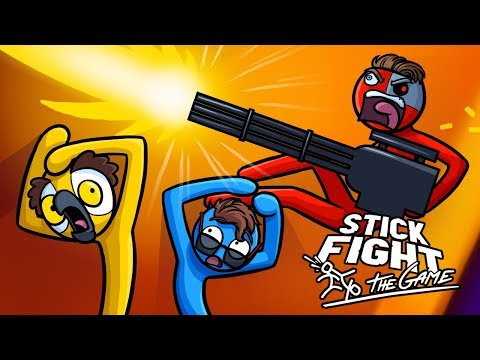 I CAN'T HANDLE THE POWER OF THE MINI GUN! (Stick Fight Funny Moments)
