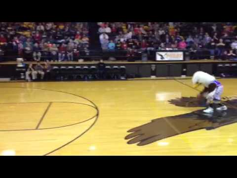 Purdy High School mascot Lucas White with the throw down