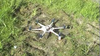 My Homemade HexaCopter Test. (Looping and Crashing :)