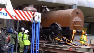 Transfer of the oldest preserved steam locomotive on the Continent from Brussels North to Schaarbeek